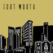 Fort Worth Skyline Panorama Yellow Poster