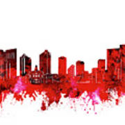 Fort Worth Skyline Red Poster