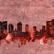 Fort Worth Skyline Vintage Red Poster