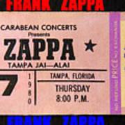 Frank Zappa 1980 Concert Ticket Poster