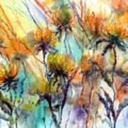 Frozen Chrysanthemums Poster