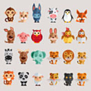 Funny Animal Vector Illustration Icon Poster