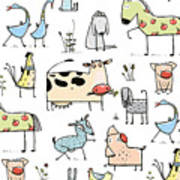 Funny Cartoon Village Domestic Animals Poster