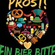 Funny Oktoberfest Prost Ein Bier Bitte Germany Poster