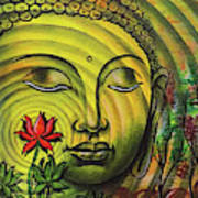 Gautama Buddha Ripple Effect Portrait Poster