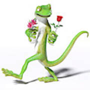 Gecko In Love Poster