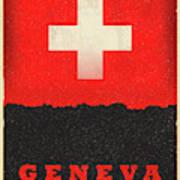 Geneva Switzerland World City Flag Skyline Poster