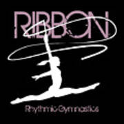 Girl Competing In Female Rhythmic Gymnastics Jumping With A Ribbon Poster