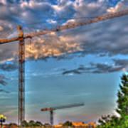 Going Up Greenville South Carolina Construction Cranes Building Art Poster