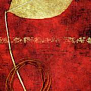 Golden Leaf On Bright Red Paper Poster
