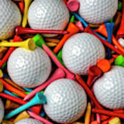 Golf Balls And Colorful Tees Poster