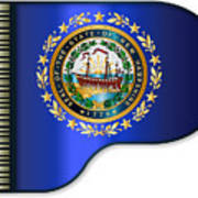 Grand Piano New Hampshire Flag Poster
