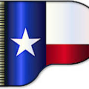 Grand Piano Texas Flag Poster