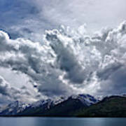 Grand Teton Mountains And Clouds Poster