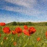 Grassland And Red Poppy Flowers 3 Poster