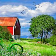 Green Bike On The Farm Poster