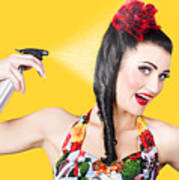 Haircare. Brunette Pinup Woman Using Hair Product Poster