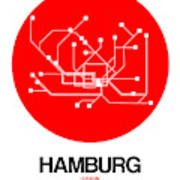 Hamburg Red Subway Map Poster