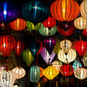 Handcrafted Lanterns In Ancient Town Poster