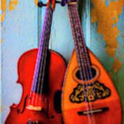 Hanging Violin And Mandolin Poster