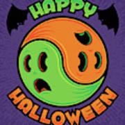 Happy Halloween Ghost Yin-yang Poster