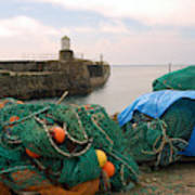 harbour pier and fishings nets at Pittenweem, Fife Poster