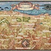 Hiking Map El Camino Spain Map Custom Map Art Poster