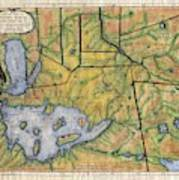 Historical Map Hand Painted Lake Superior Norhern Minnesota Boundary Waters Captain Carver Poster