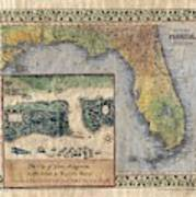 Historical Map Hand Painted St. Augustine Poster