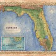 Historical Map Hand Painted Vintage Florida Colton Poster