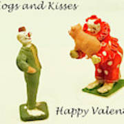 Hogs And Kisses Clown Valentines Poster