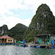Homes On Ha Long Bay Gulf Of Tonkin  Poster