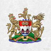 Hong Kong - 1959-1997 Coat Of Arms Over White Leather  Poster