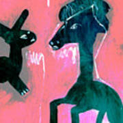 Horse And Rabbit On Pink Poster
