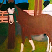 Horse On A Ranch Poster