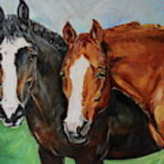 Horses In Oil Paint Poster