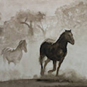 Horses In The Mist Poster