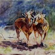 Horses On Work Poster