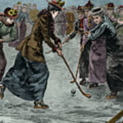 Ice Hockey  Ladies Match On The Lake In Wimbledon Park Poster