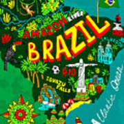Illustrated Map Of Brazil Poster