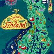 Illustrated Map Of Finland. Travels Poster