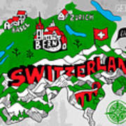 Illustrated Map Of Switzerland Poster