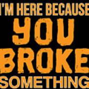 Im Here Because You Broke Something Poster