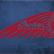 Indian Motorcycle Old Vintage Logo Blue Background Poster