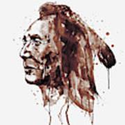 Indian Warrior Sepia Tones Poster