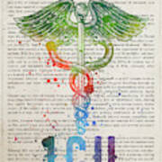 Intensive Care Unit Gift Idea With Caduceus Illustration 03 Poster