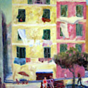 Italian Piazza With Laundry Poster