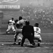 Jackie Robinson At Bat Against Pitcher Poster