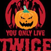 Jackolantern Scary Ghost Zombie Pumpkin Halloween Dark Poster