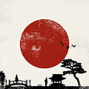 Japan Scenery Poster, Vector Poster